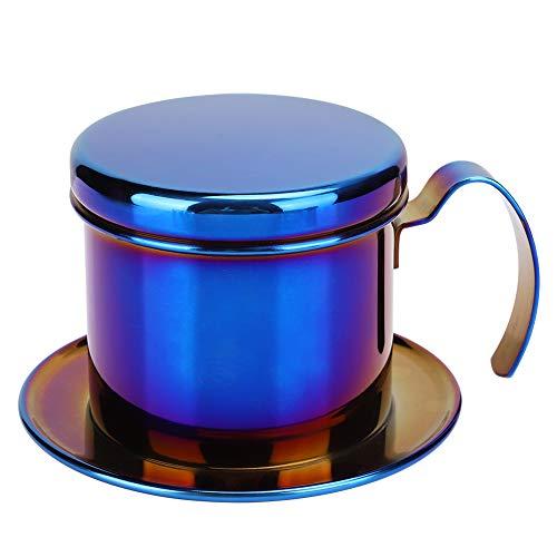 Agatige Kaffeefilterhalter, Wiederverwendbare Edelstahl vietnamesische Tropf-Kaffee-Filter-Kanne für Haus, Küche, Büro (Titanium Blue)