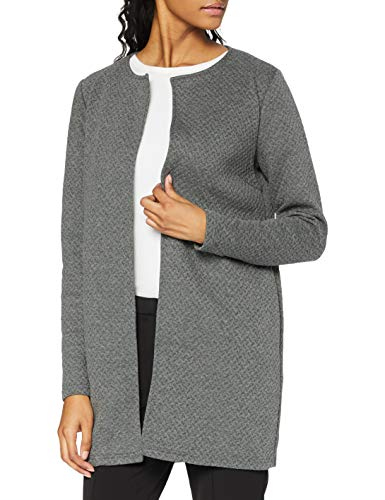 Vila Clothes Damen VINAJA New Long JKT Strickjacke, Grau (Medium Grey Melange), 40 (Herstellergröße: L)