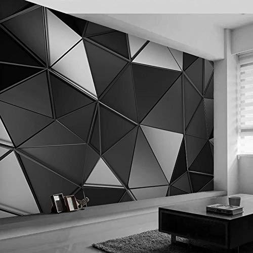 3D Wallpaper für Wände Modern Stereoscopic Black Grey Geometric Art Wandbild Schlafzimmer Wohnzimmer TV Hintergrund Wanddekoration-400 * 280cm