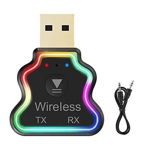 iZhuoKe Ricevitore Trasmettitore Bluetooth USB,Adattatore Bluetooth 5.0 USB,Adattatore Wireless Portatile per Casa Auto Laptop,Jack AUX-in 3,5mm Denoise HiFi Music