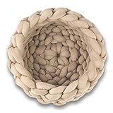 Boyigog Cama tejida para gatos y mascotas, cesta para gatos, nido para mascotas, tejido a mano, de lana gruesa, diámetro de 40 cm, cojín para mascotas pequeñas y medianas (Khaki)