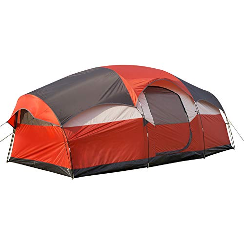 Superrella Portable Waterproof Family Large Tent with Double Layer for 6-8 Person Camping, Hiking, Outdoor Activities, Orrange Red