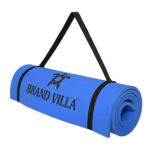 brandvilla Yoga Mat with Carrying Bag Anti Skid Yogamat for Gym Workout and Flooring Exercise Long Size Yoga Mat for Men Women (6mm,Blue)