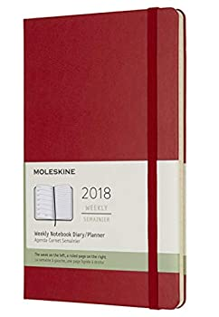 Moleskine Classic 12 Month 2018 Weekly Planner Hard Cover Large  5  x 8.25   Scarlet Red