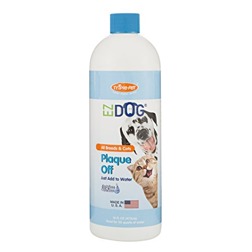 EZ Dog Plaque Off Fresh Breath AllNatural Drinking Water Additive for Dogs and Cats | Best Water Additive for All Cats and Dogs | Great Way to Keep Your Pet#039s Mouth Clean 16 ounces