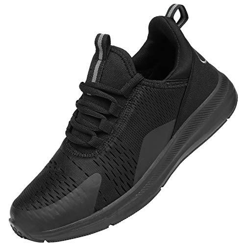 KOUDYEN Zapatillas Running Hombre Mujer Zapatos para Correr y Asfalto Aire Libre y Deportes Calzado Ligero Transpirable Sneaker XZ476-Allblack-EU38