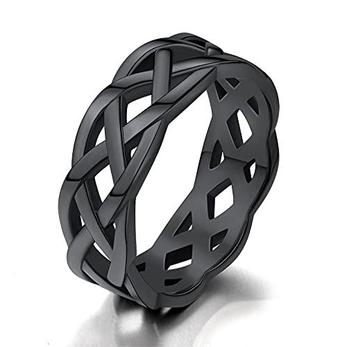 Black Celtic Ring Men Size 8 Stainless Steel Celtic Knot Band