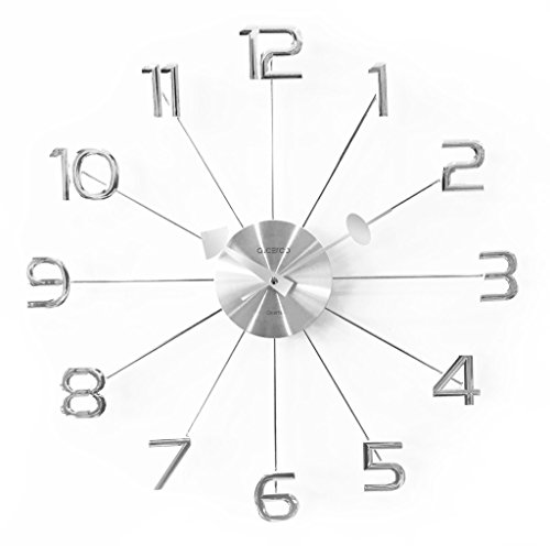 """A. Cerco 19"""" large decorative wall clock│solid aluminium casing for clock movement│shinny chromed abs made numerals │modern industrial │silent movement - silver"""