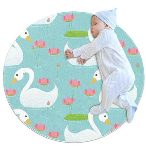 Alfombra circular con diseño de flor de loto de cisne blanco jugando alfombra circular suave y cómoda alfombrilla de dormir para bebé con respaldo antideslizante para niñas sala de estar o habitación