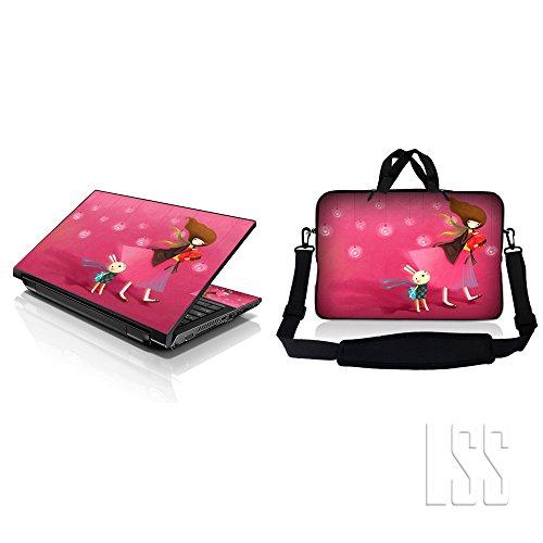LSS Laptop & Macbook PRO Sleeve Bag Carrying Case w/ Hidden Handle & Matching Skin Sticker Adatta per 15' 15.4' 15.6' Birthday Girl Party
