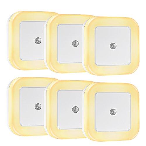 TOPOP Luce Notturna Sensore di Luminosità,Luce Notturna Wireless per Camera da Letto Auto On/off, 4 LED, 0.5W 40lm, Bianco - 6 Pezzi …