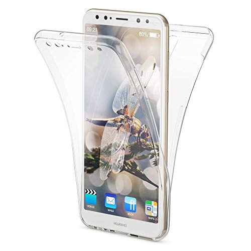 NALIA Funda 360 Grados Compatible con Huawei Mate 10 Lite, Delantera Trasera Protectora Movil Silicona Carcasa, Ultra-Fina Gel Transparente Doble Cubierta Bumper Cover Phone Case, Color:Transparente