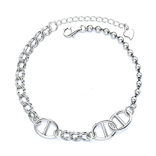 S925 cadena de plata esterlina marea femenina anillo redondo cadena personalidad estudiante bosque dulce temperamento industria pesada accesorios