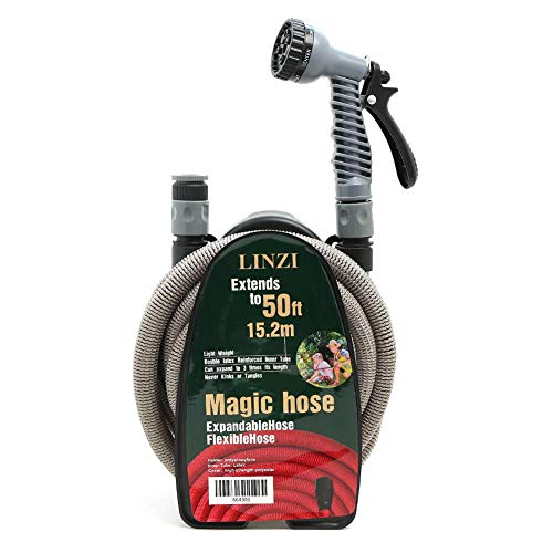 LINZI Expandable Garden Water Hose 15M 50FT Magic Hose Double Latex Inner Hose Flexible No Kink + Plastic Connectors + 7 Function Spray Gun + Hose Holder