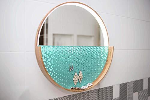 EWART WOODS Espejo con luces Redondo Decorativo Espejo de Pared Espejo de Pared Espejo de Pared con Luz Controlable Brillo Organizador de Joyas (Azul, 30 cm (11.81 pulgadas)