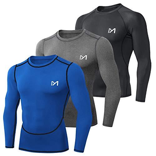 MEETYOO Camiseta Compresion Hombre, Ropa Deportiva Manga Larga Base Layers para Running Gym Ciclismo (Negro + Azul + Gris, XL)
