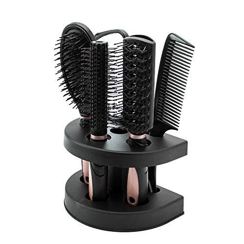 5PCS Ensemble de Brosse à Cheveux Peigne à Cheveux Femmes Coiffure Soins des Cheveux Brosse Démêlante Brosse de Palette Peigne de Queue avec Miroir et Support Stand (Rose)