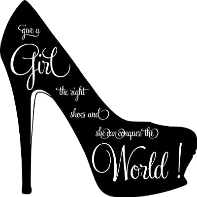 Give a Girl the Right Shoes and She Can Conquer the World Marilyn Monroe Wall Art Decal Sticker Home Decor