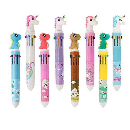 Shuttle Pens Ballpoint Pen Retractable Gel Pen 10-in-1 Shuttle Pens Leaflai 8 Multicolor Dinosaur Unicorn 0.5mm Liquid Ink Pens for Office School Supplies Students Children Gift (8PCS-A)