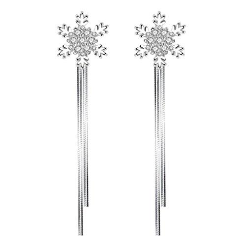 Wiftly Women's simple earrings, cute earrings, 925 silver earrings, long earrings, drop snowflake earrings, fashion jewellery, gifts for Christmas, birthday, hypoallergenic