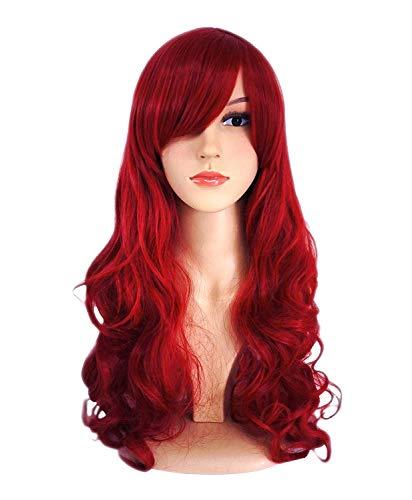 Peluca Mujer Rojo Larga Ondulada Pelo Rizado para Disfraz de Halloween Cosplay Carnaval Navidad Fiesta