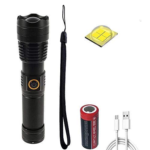 WINDFIRE Linterna LED recargable USB, New XHP70 – Linterna LED 10000 lm alta potencia profesional, con 5 modos de iluminación, enfoque ajustable, batería 26650 7200 mAh para interiores y exteriores