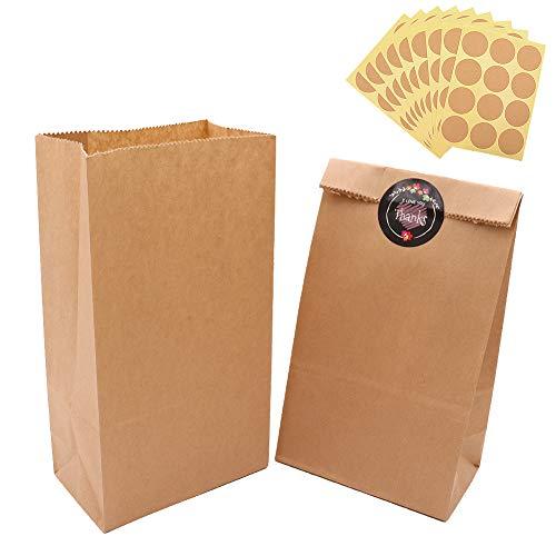 100 Piezas Calidad Bolsa de Papel Kraft 12X21X7CM - Panngu Biodegradable Bolsas de Papel Regalo Para Navidad/Bodas/Fiestas de Cumpleaños/galletas/gominolas cualquier evento o regalos pequeños(70g/m2)