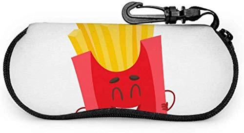 Dibujos animados de comida rápida Fritas patatas fritas niño gafas caso caso ligero portátil neopreno cremallera suave caso caso de gafas para hombres
