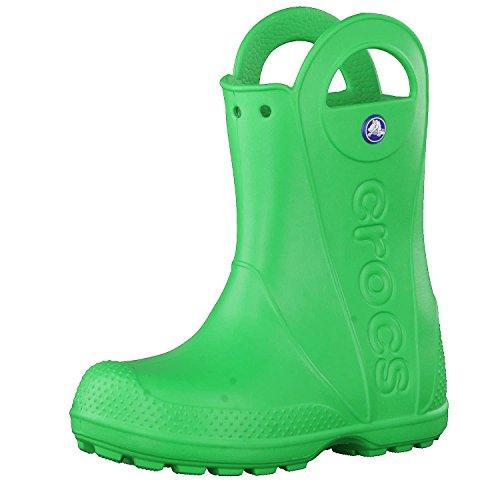 Crocs Handle It Rain Boot Unisex - Bambini Stivali da pioggia, Stivali di Gomma, Verde (Grass Green), 25/26 EU