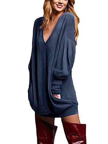 ZANZEA Women's Sexy Casual Loose Long Sleeve Jumper Baggy V-Neck Tops Blouse T-Shirt Blue 3XL