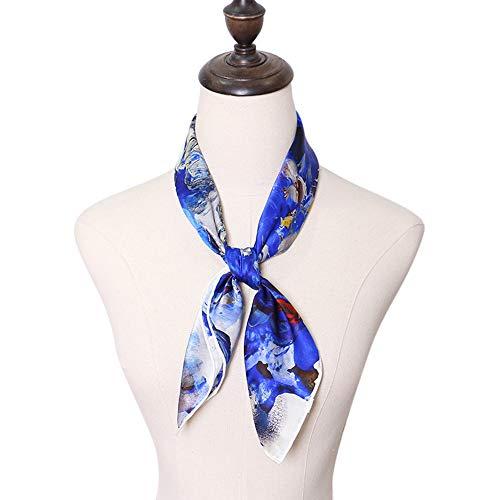 Lantra Besa Ölgemälde Stil Damen Seide Tuch Seidentuch Umschlagtuch für Frühling Herbst Winter und Sommer Satin Quadratisch Groß 64 * 64cm EINWEG (Typ 45) - AM034 Blumen Blau