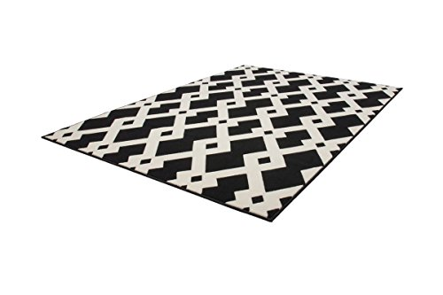 Vloerkleed, modern, vlakpolig, geometrisch. Patroon tapijten 3D-effect zwart wit