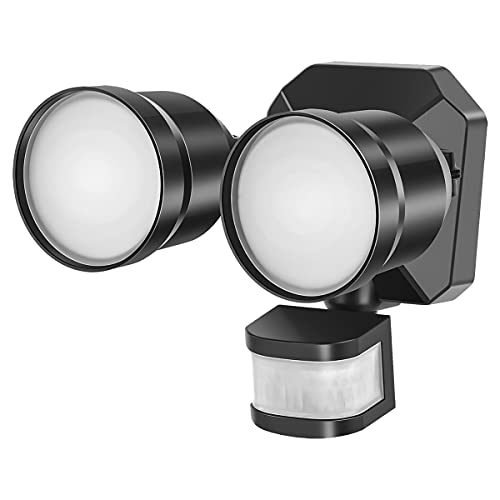 Dusk to Dawn Outdoor LED Flood Light Motion Sensor, Adjustable Dual-Head Security Light, IP65 Waterproof 5000K, 280W Equivalent Eave Mount Spotlight for Garage, Porch, Yard, 1-Pack, GLEEBOM