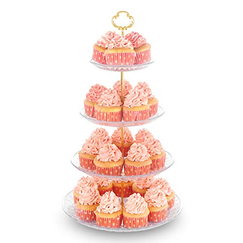 4Tier Cupcake Stand Dessert Tower Display Rack Serving Tray for Wedding Birthday Baby Shower Party