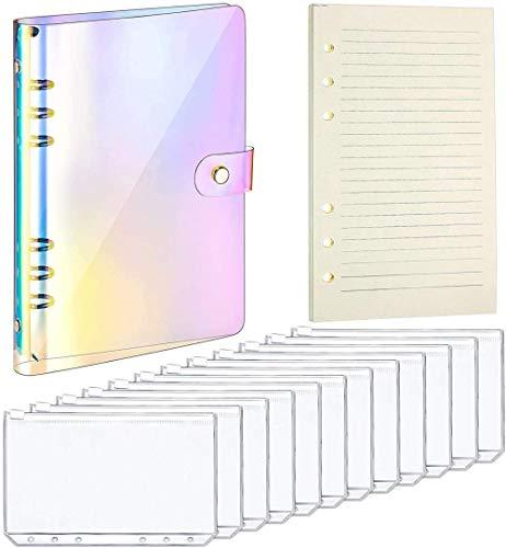 6 Regenbogen Soft PVC Notebook Binder Abdeckung mit Druck Knopf Verschluss 12 Binder Taschen und 45 Lose Blatt Papier A5