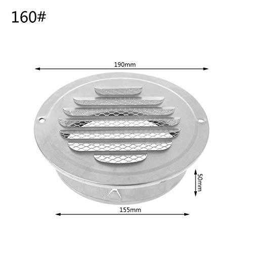 smallJUN Außenwand-Entlüftungsgitter aus Edelstahl, runde Lüftungsgitter für Türöffnungen Türscharniere, Scharniere Silber
