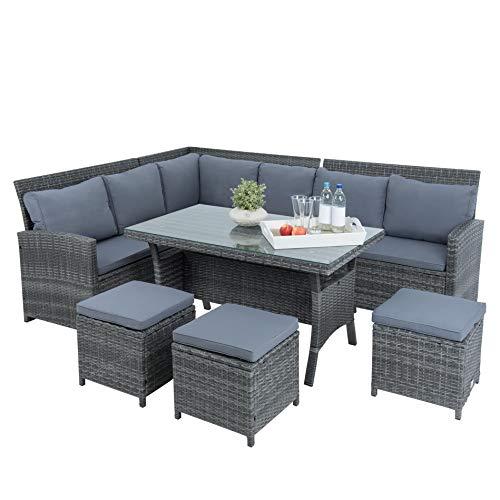 ESTEXO Polyrattan Lounge Set in luxuriöser Optik bestehend aus 1 Couch, 3 Hockern und 1 Tisch, inklusive Sitzpolster, grau - 4