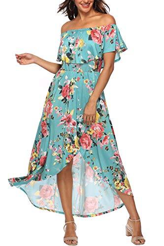 Zattcas Off Shoulder Dresses for Women Long Floral Dress Casual Party Maxi Dress,Aqua,XX-Large