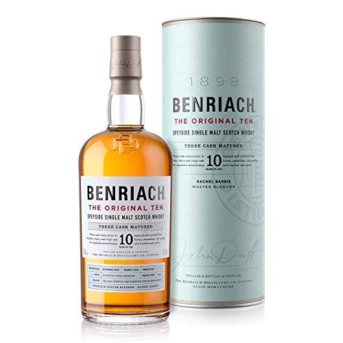 The BenRiach 10 Jahre - Speyside Single Malt Scotch Whisky - 43% Vol (1 x 0.7l) | Reifung in Bourbon-, Sherry- sowie frisch und unbenutzten Eichenfässern