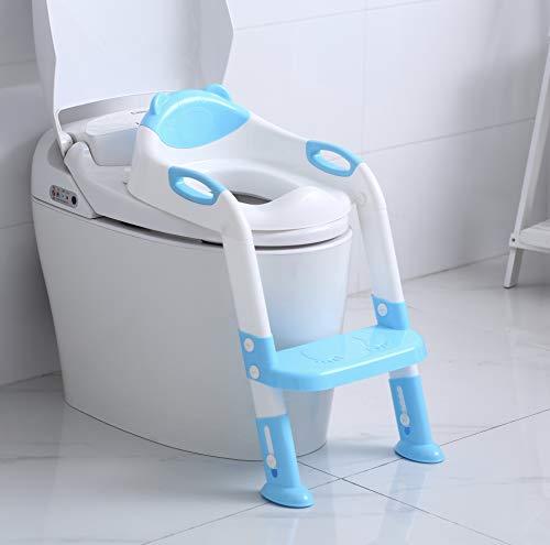 PandaEar Potty Training Asiento para inodoro con escalera de taburete, niños, niñas, niños pequeños, cómoda, segura, almohadillas antideslizantes, escalera (azul) (variado)
