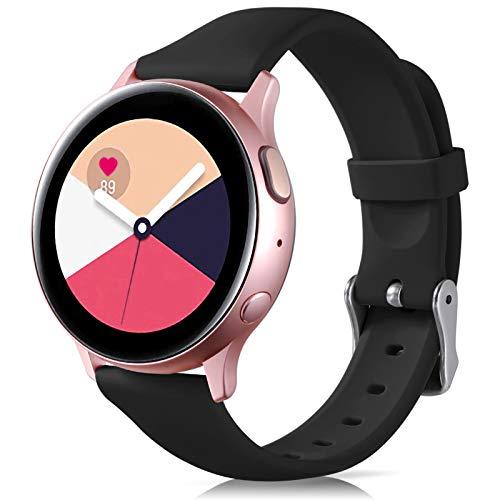 Oielai Cinturino Compatibile con Samsung Galaxy Active 40mm/Active 2 44mm, Cinturino da Polso di Ricambio in Silicone Sport per Galaxy Watch Active 2/Galaxy Watch Active/Galaxy Watch 3, Piccolo Nero