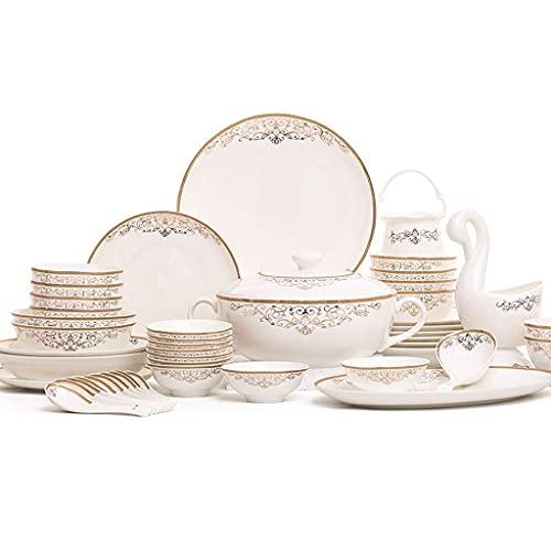 Set di stoviglie in ceramica, set di piatti e ciotole in bone china da 48 pezzi con set di piatti di alta qualità per zuppiera per riunioni di famiglia