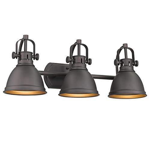 Emliviar 3-Light Vanity Light Fixture, Oil Rubbed Bronze Finish with Metal Shade, 4054 ORB