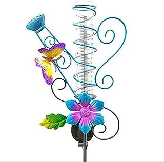 MCDSAJ - Misuratore di pioggia a energia solare, da 37 cm, decorazione da giardino, impermeabile, antiruggine, in metallo,...