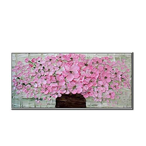 WunM Studio Olie Schilderijen Op Doek Handgeschilderd, Mes Landschap Schilderij, Roze Bloemen Vaas, Moderne Abstract 3D Grote Muur Art Home Decor Foto Voor Binnen Woonkamer Slaapkamer Kantooringang Hal 60×120 cm