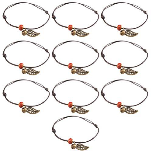 ABOOFAN 10 pulseras bohemias con colgante de hoja de metal, pulseras de cadena de muñeca, accesorios de joyería, regalos para mujeres y niñas, decoraciones de fiesta de playa (color mezclado)