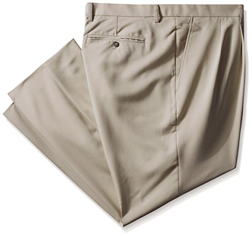 Cutter & Buck Men's Tall Twill Microfiber Pleated Pant Unhemmed, Oyster, 52/Big