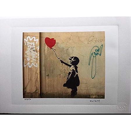 D/écoration murale pour salle de bain salon 123 Life Poster Banksy fille tenant des ballons r/étro noir et blanc 30 x 40 cm