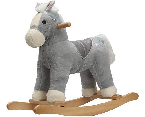 Rock My Baby Pony Rocking Horse, Plush Stuffed Animal Rocker, Wooden Rocking Pony, Animal Ride on, Home Decor, for Boys & Girls (Gray Horse Pony for 18M+)