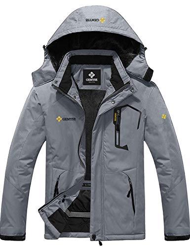 GEMYSE Men's Mountain Waterproof Ski Snow Jacket Winter Windproof Rain Jacket (Mid Grey,Large)